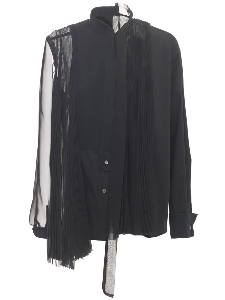 SACAI Pleated Cotton Poplin & Tech Shirt in black