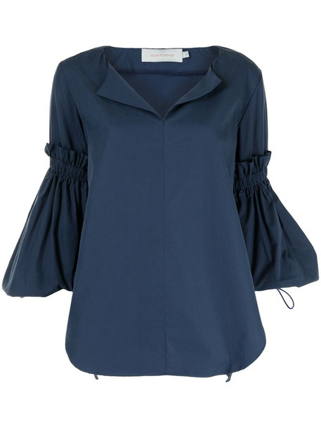 Silvia Tcherassi bell-sleeve cotton blouse in blue