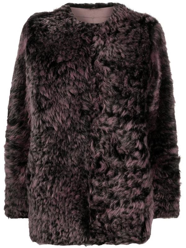 Suprema reversible shearling jacket in pink