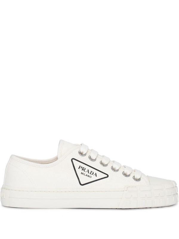 Prada logo low-top sneakers in white