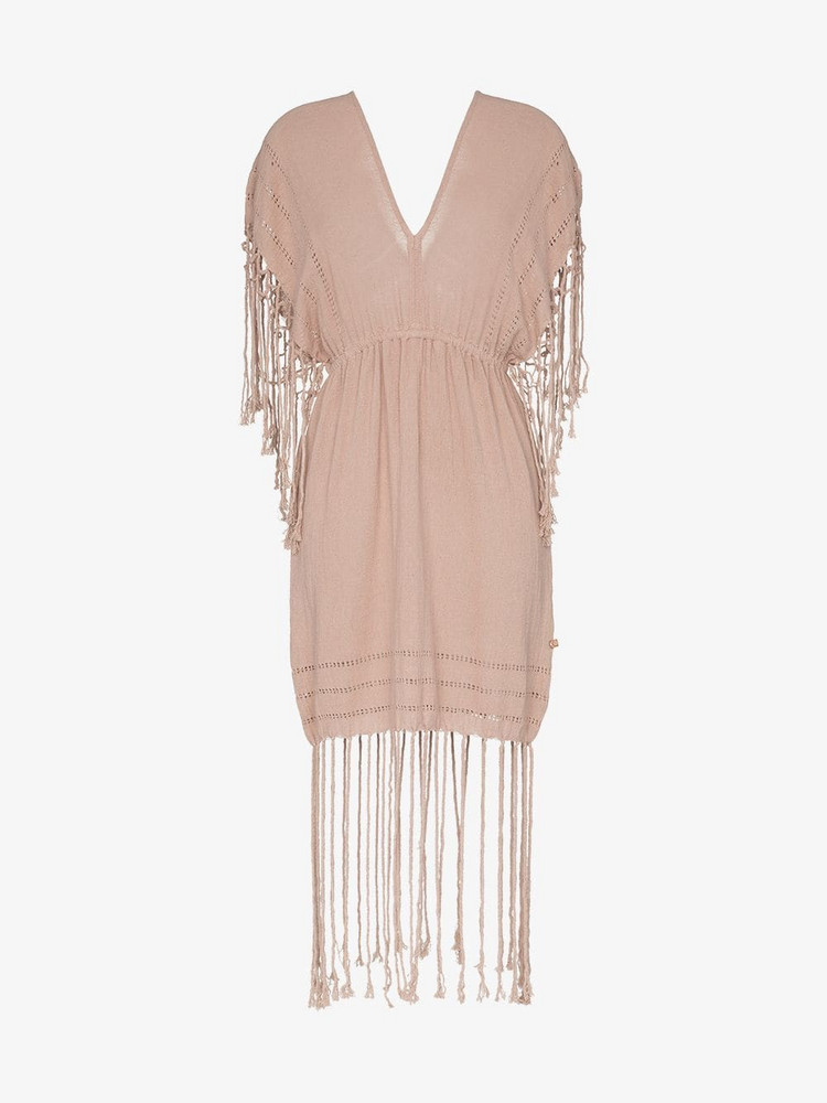 Caravana Imix fringe cotton mini dress in pink