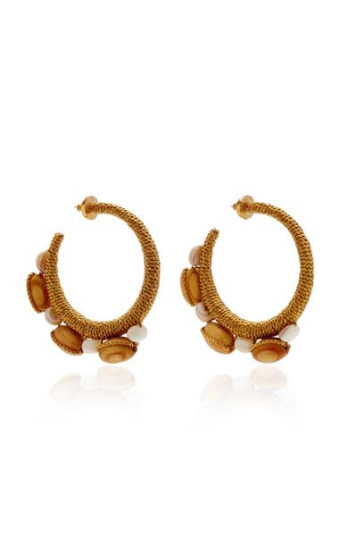 Oscar de la Renta Embellished Hoop Earrings in neutral