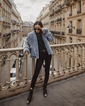 jacket,shearling jacket,black skinny jeans,ankle boots,black top