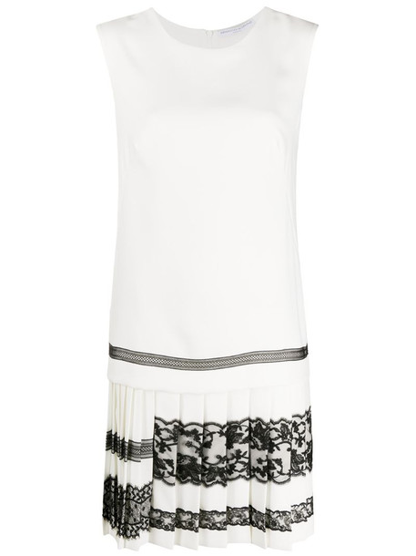 Ermanno Scervino lace-trim sleeveless dress in white