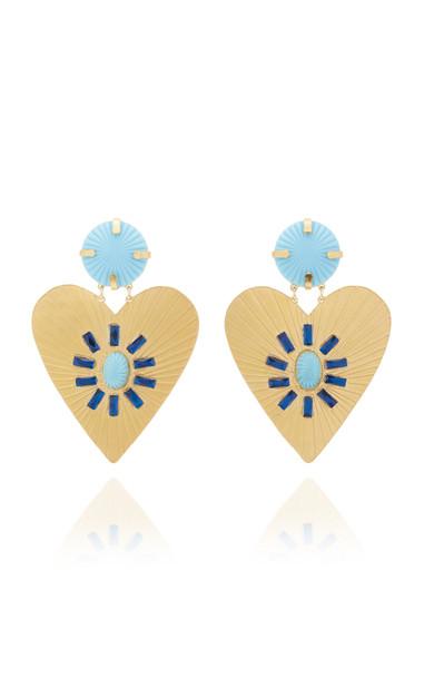 Mercedes Salazar Lightblue Heart Earrings in gold