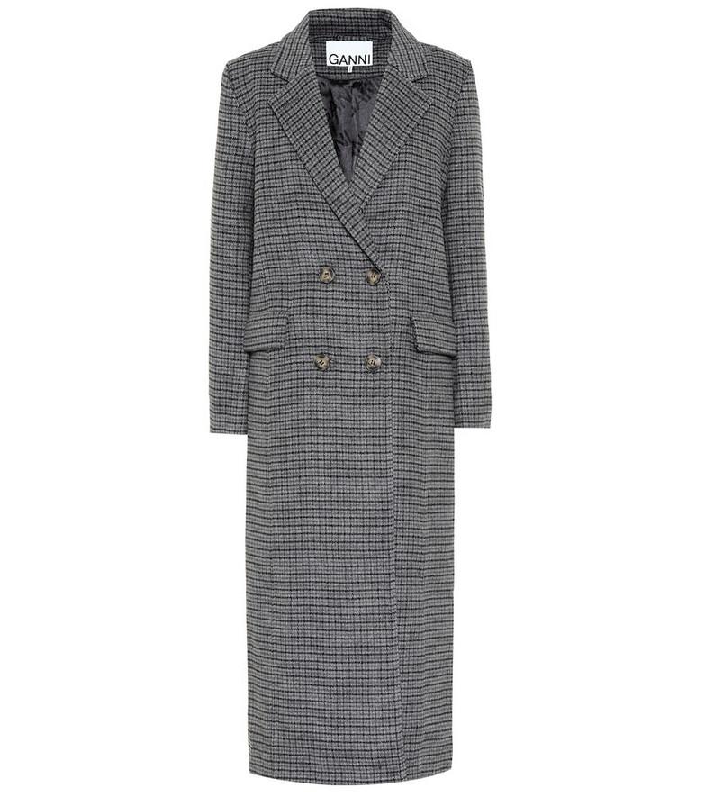 Ganni Checked wool-blend coat in grey