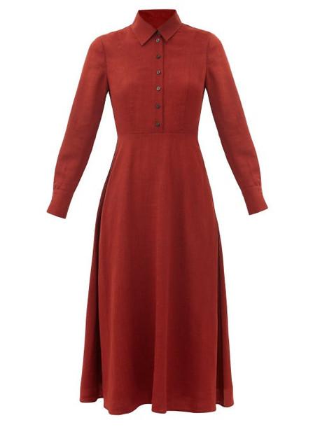 Cefinn - Veronica Point-collar Voile Midi Dress - Womens - Burgundy