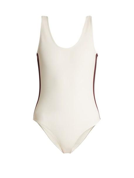 Albus Lumen - Costa Grosgrain Trimmed Swimsuit - Womens - White