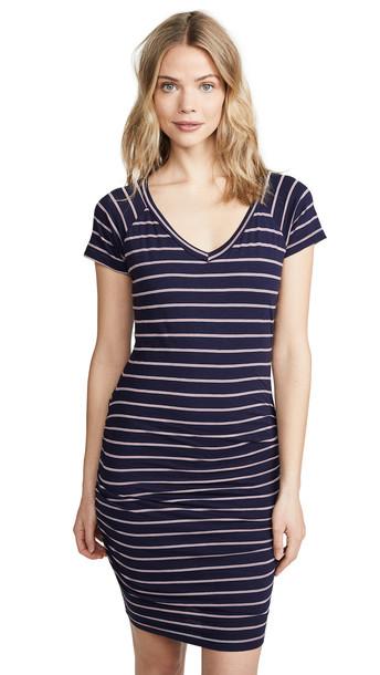 SUNDRY Striped V Neck Dress in navy