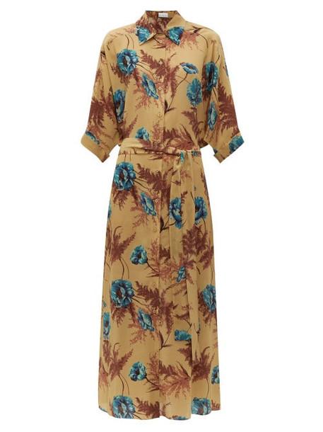 Raey - Hawaii Floral Print Dolman Sleeve Silk Shirtdress - Womens - Blue Print