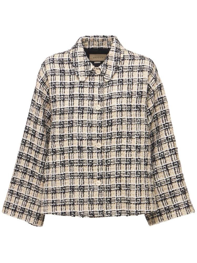 GUCCI Cotton Blend Tweed Jacket in black / beige