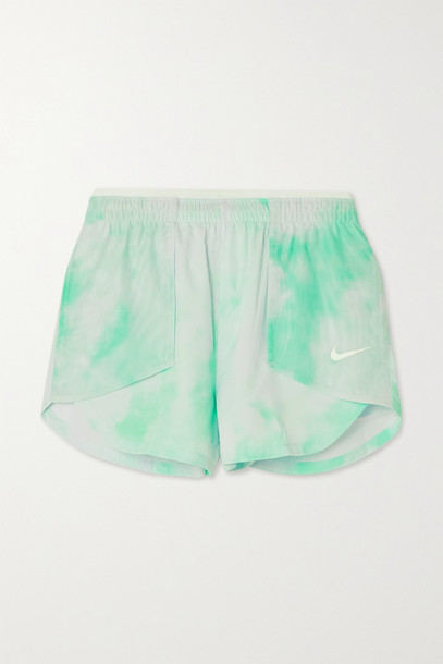 NIKE - Icon Clash Tempo Luxe Mesh-paneled Tie-dyed Dri-fit Shorts - Green