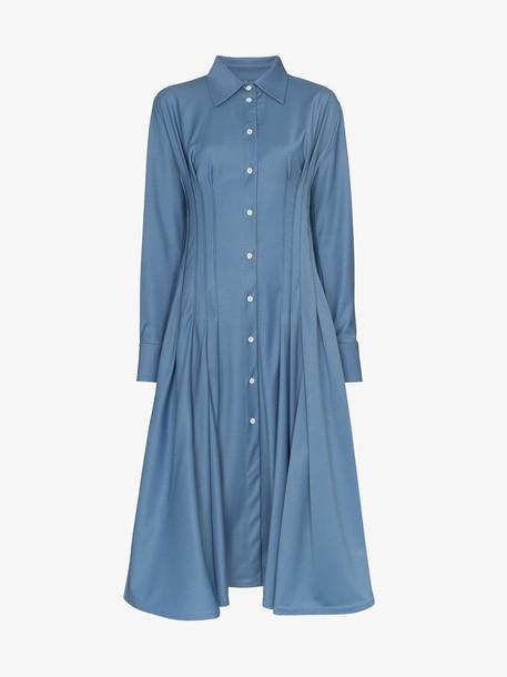 Anouki gathered-waist shirt-dress in blue