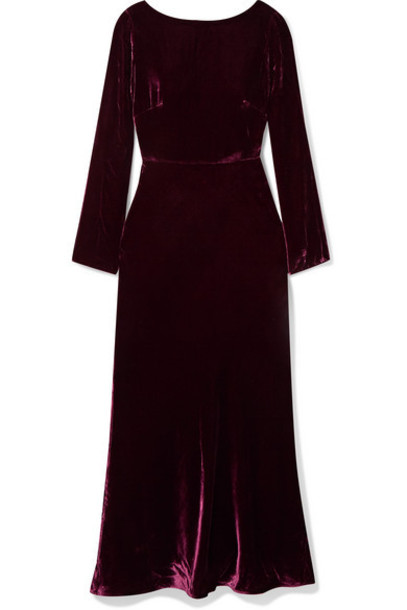 Saloni - Tina Open-back Draped Velvet Midi Dress - Plum