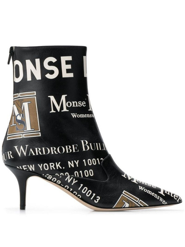 Monse package print boots in black