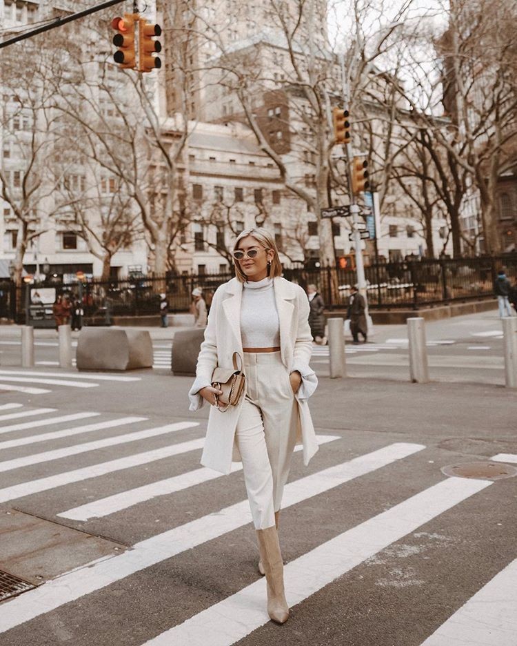 sweater cropped turtleneck white pants high waisted pants knee high boots bag white coat