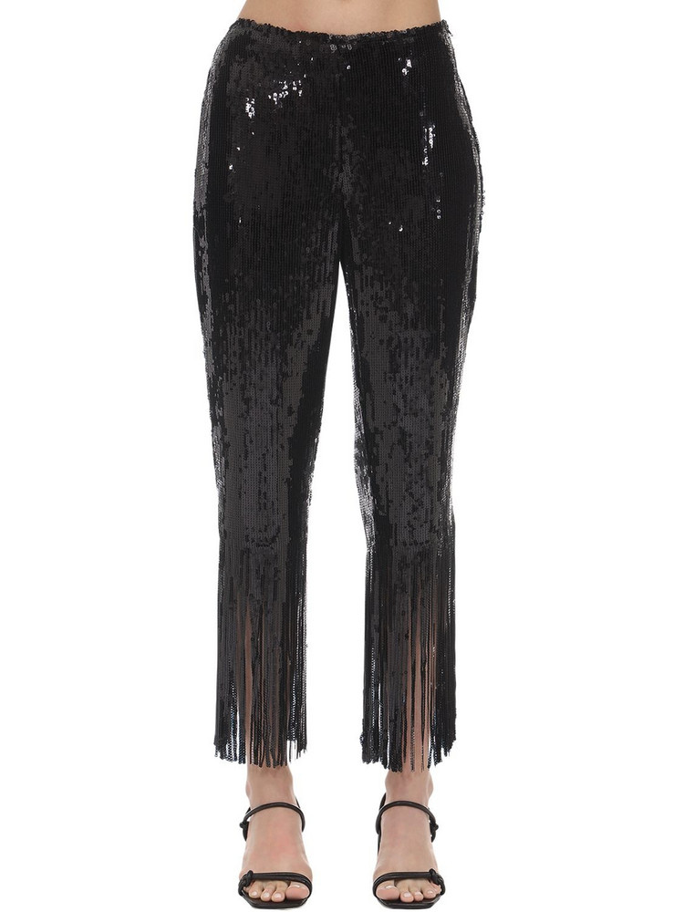 L'AUTRE CHOSE High Waist Sequins Pants W/ Fringes in black