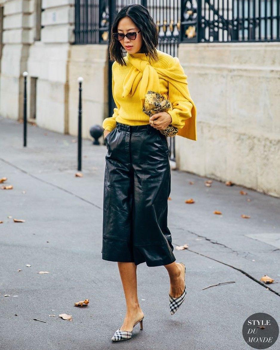 sweater yellow sweater black shorts leather shorts mules bag