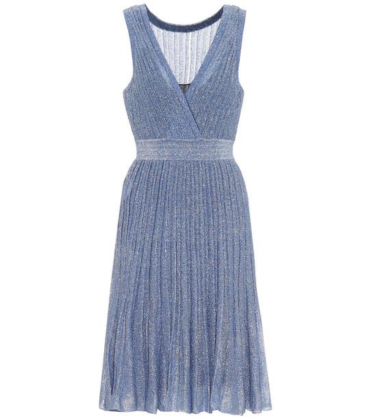 Missoni Metallic knit dress in blue