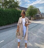 coat,trench coat,joggers,pumps,white bodysuit,bag
