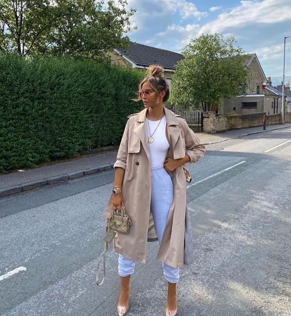coat trench coat joggers pumps white bodysuit bag
