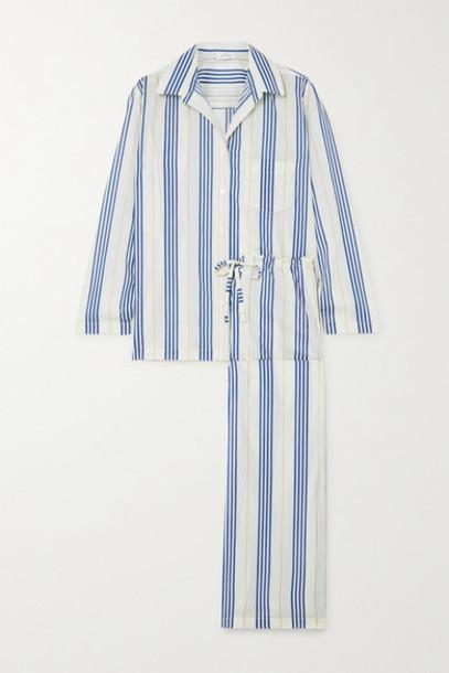 Pour Les Femmes - Striped Cotton-voile Pajama Set - Blue