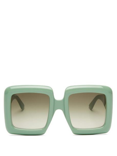 Gucci - Oversized Square Acetate Sunglasses - Womens - Light Green