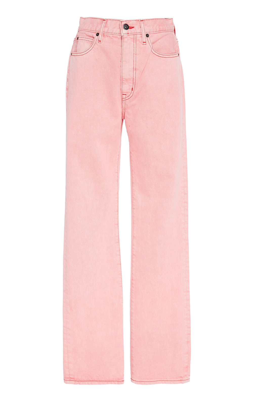 SLVRLAKE Denim London High-Rise Straight-Leg Jeans in pink