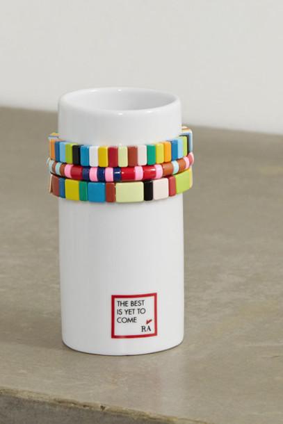 Roxanne Assoulin - Stack 'em Up Porcelain Vase And Set Of Three Enamel And Gold-tone Bracelets - White