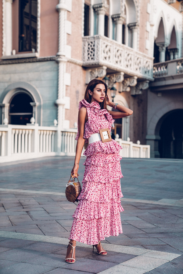 vivaluxury - fashion blog by annabelle fleur: nyfw mini moment blogger dress shoes bag maxi dress ruffle dress spring outfits summer outfits belt cult gaia bag high heel sandals