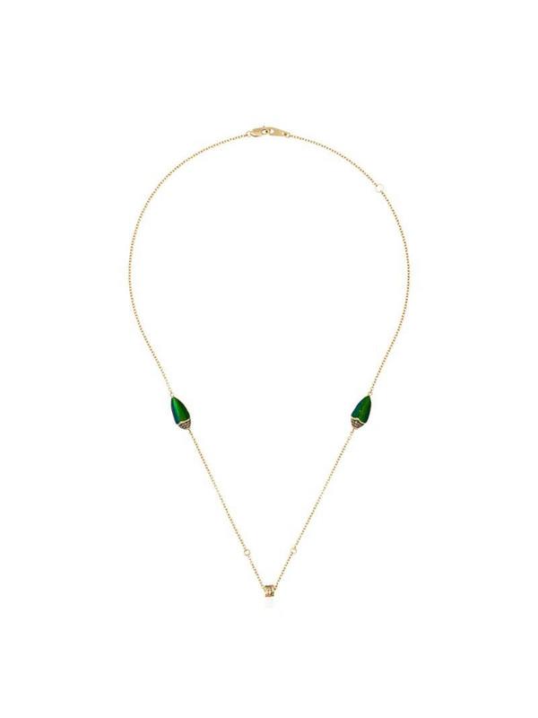 Bibi van der Velden 18kt yellow gold scarab wings diamond and sapphire necklace