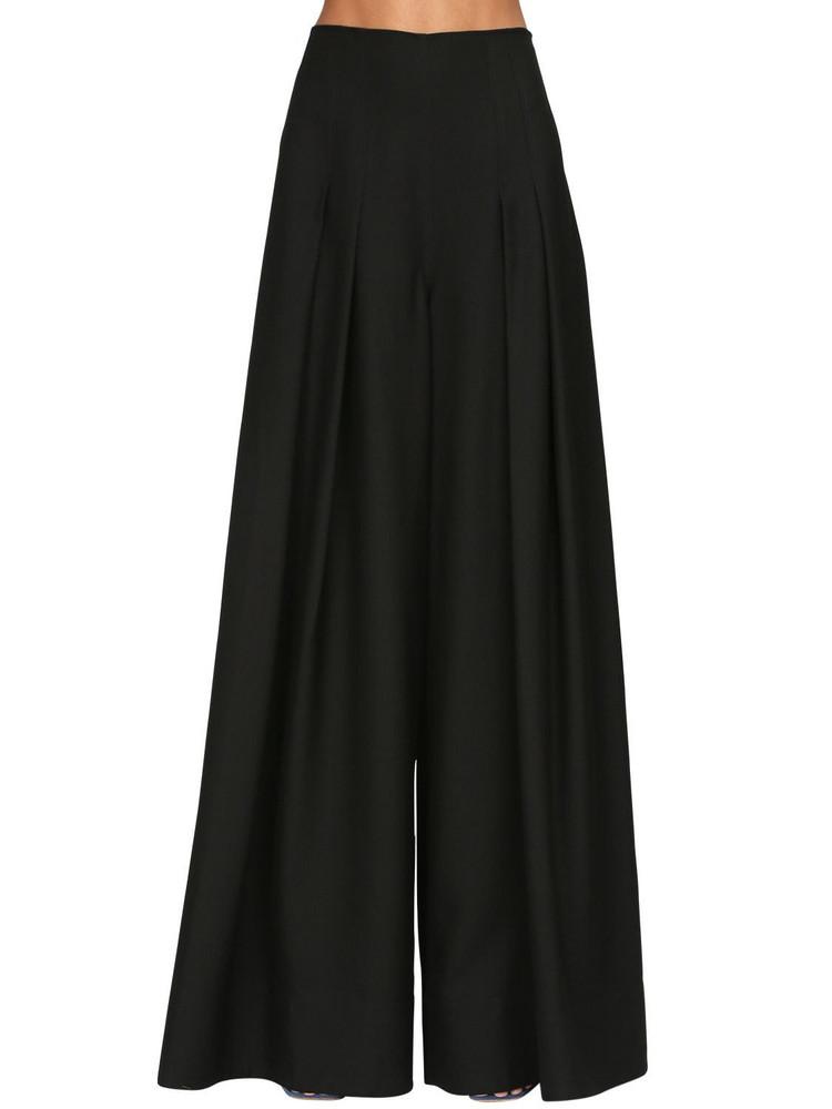 JACQUEMUS Pleated High Waist Raw Gabardine Pants in black