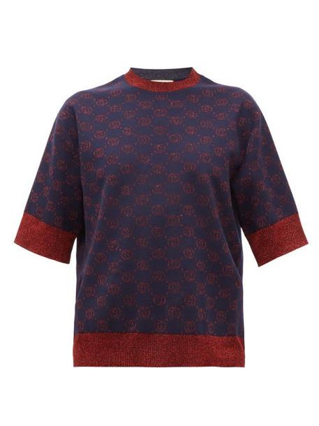 Gucci - Gg-logo Jacquard Wool-blend Short-sleeved Sweater - Womens - Blue Multi