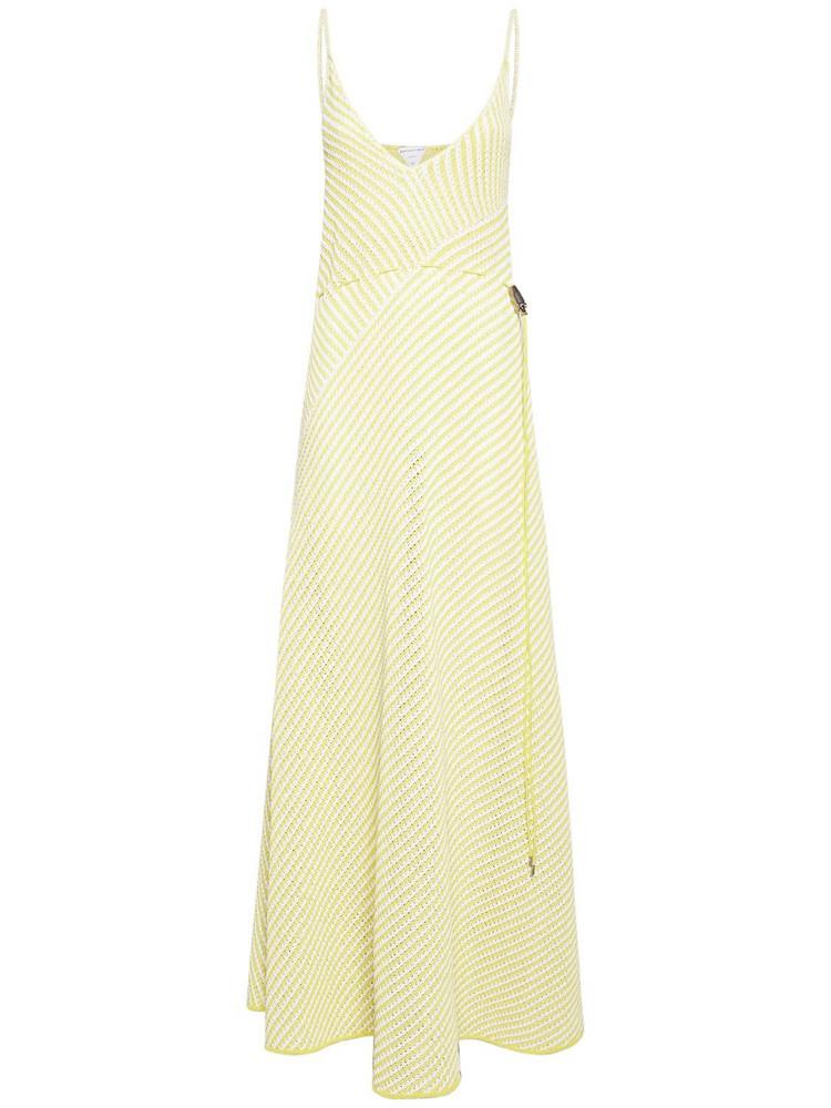 BOTTEGA VENETA Striped Cotton Mesh Long Dress in yellow