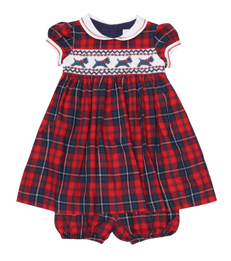 Rachel Riley Baby cotton dress and bloomers set in red