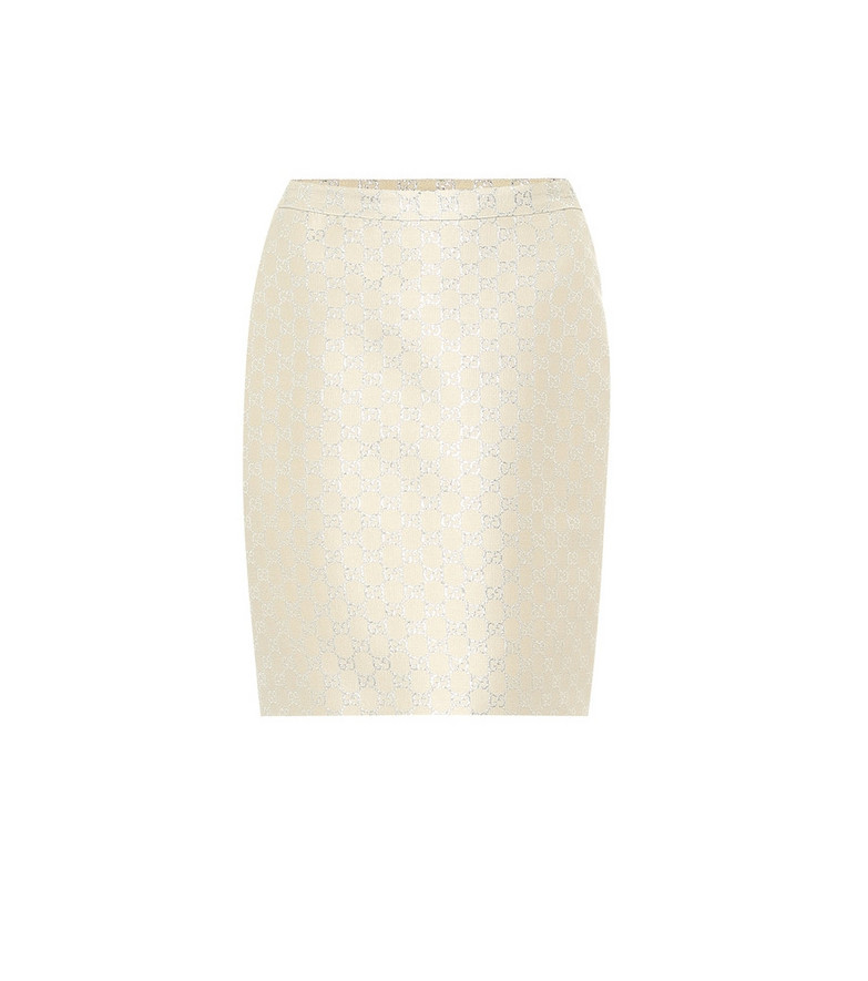 Gucci GG lamé wool-blend miniskirt in white