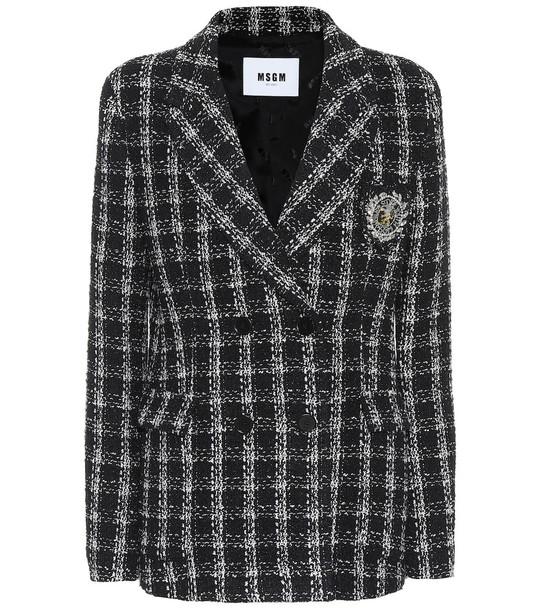 MSGM Tweed blazer in black