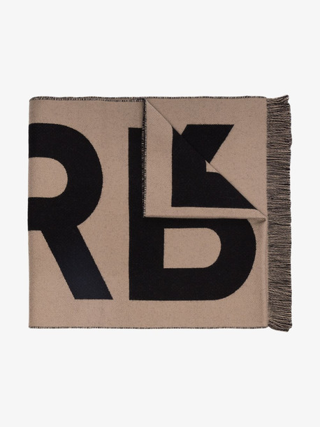 Burberry logo intarsia wool scarf in brown