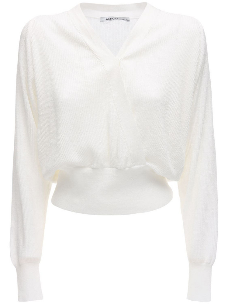 AGNONA Linen Blend Wrap Style Top in white
