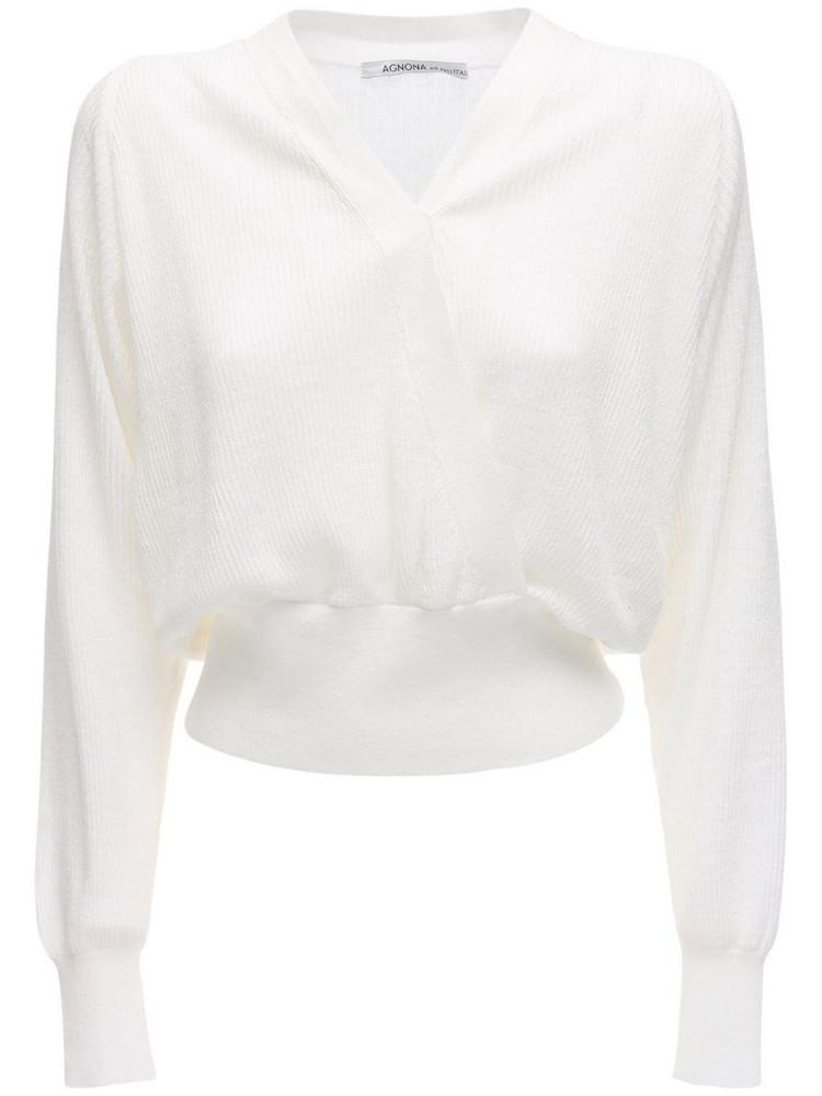 AGNONA Linen Blend Wrap Style Top in white