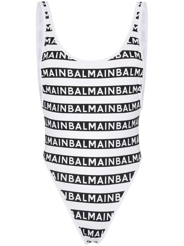 Balmain logo-stripe high-leg swimsuit in black