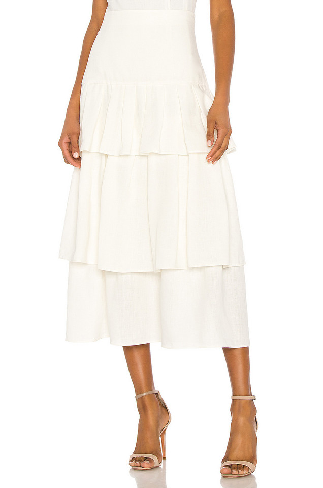 Theory Tier Ruffle Skirt in white