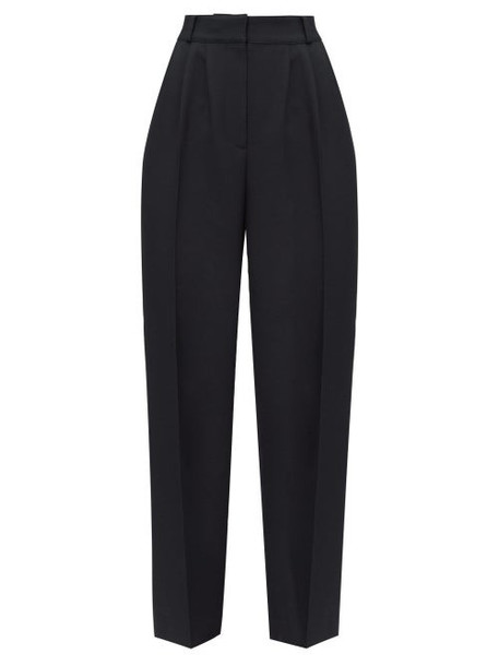 Alexander Mcqueen - High Rise Pleated Twill Trousers - Womens - Black