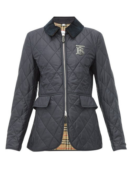 Burberry - Ongar Monogram Appliqué Quilted Jacket - Womens - Navy