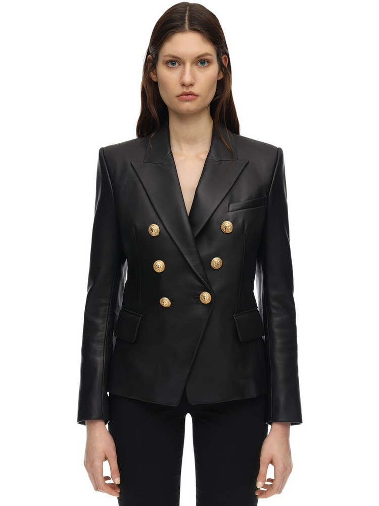 BALMAIN Double Breasted Leather Jacket in black