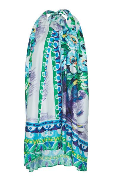 Prada Floral-Print Silk-Satin Twill Halter Mini Dress Size: 44
