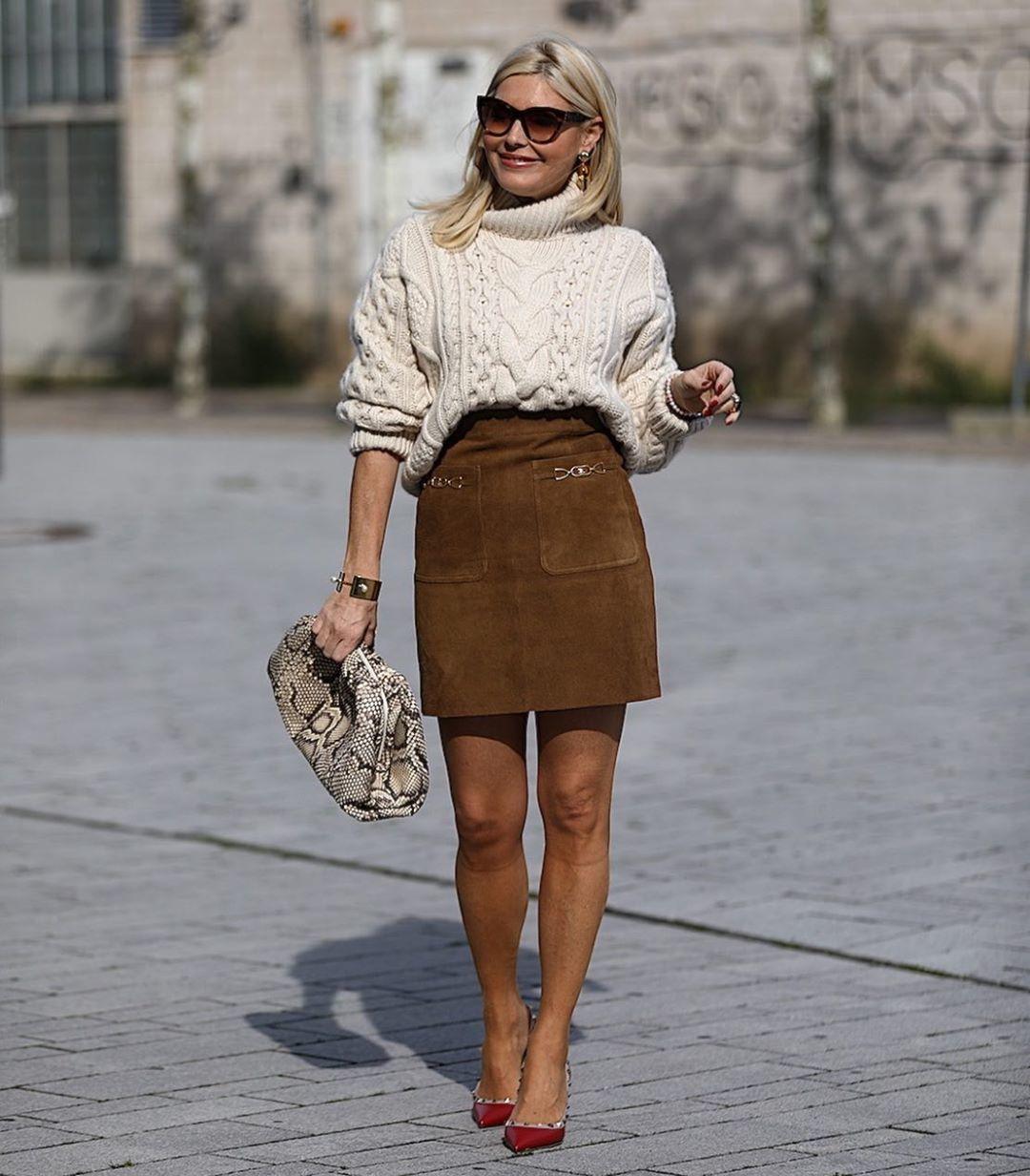 sweater turtleneck sweater celine mini skirt pumps handbag snake print