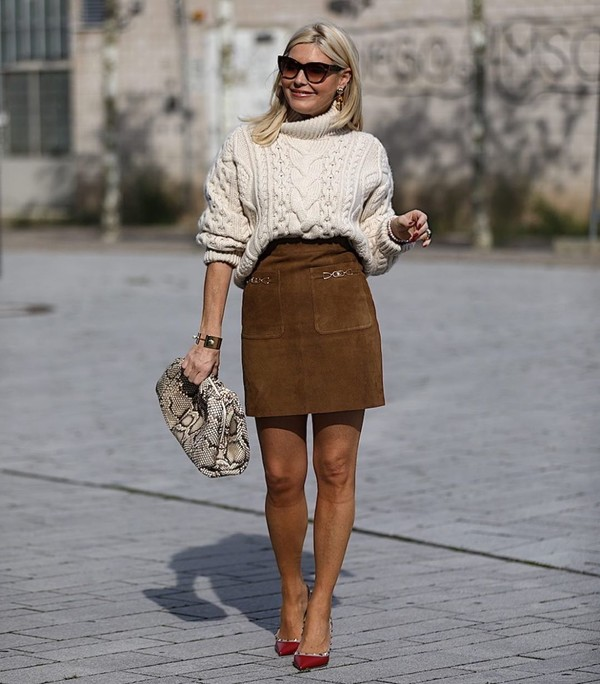 sweater turtleneck sweater celine mini skirt pumps handbag snake print