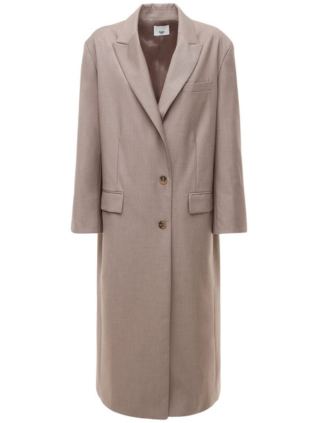 THE FRANKIE SHOP Single Breast Woven Overcoat in grey