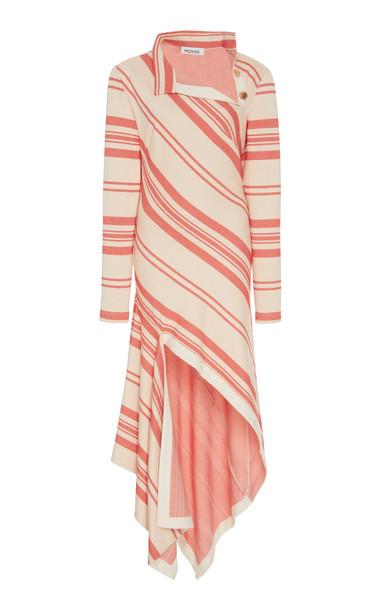 MONSE Asymmetric Striped Jersey Dress Size: 0 in red